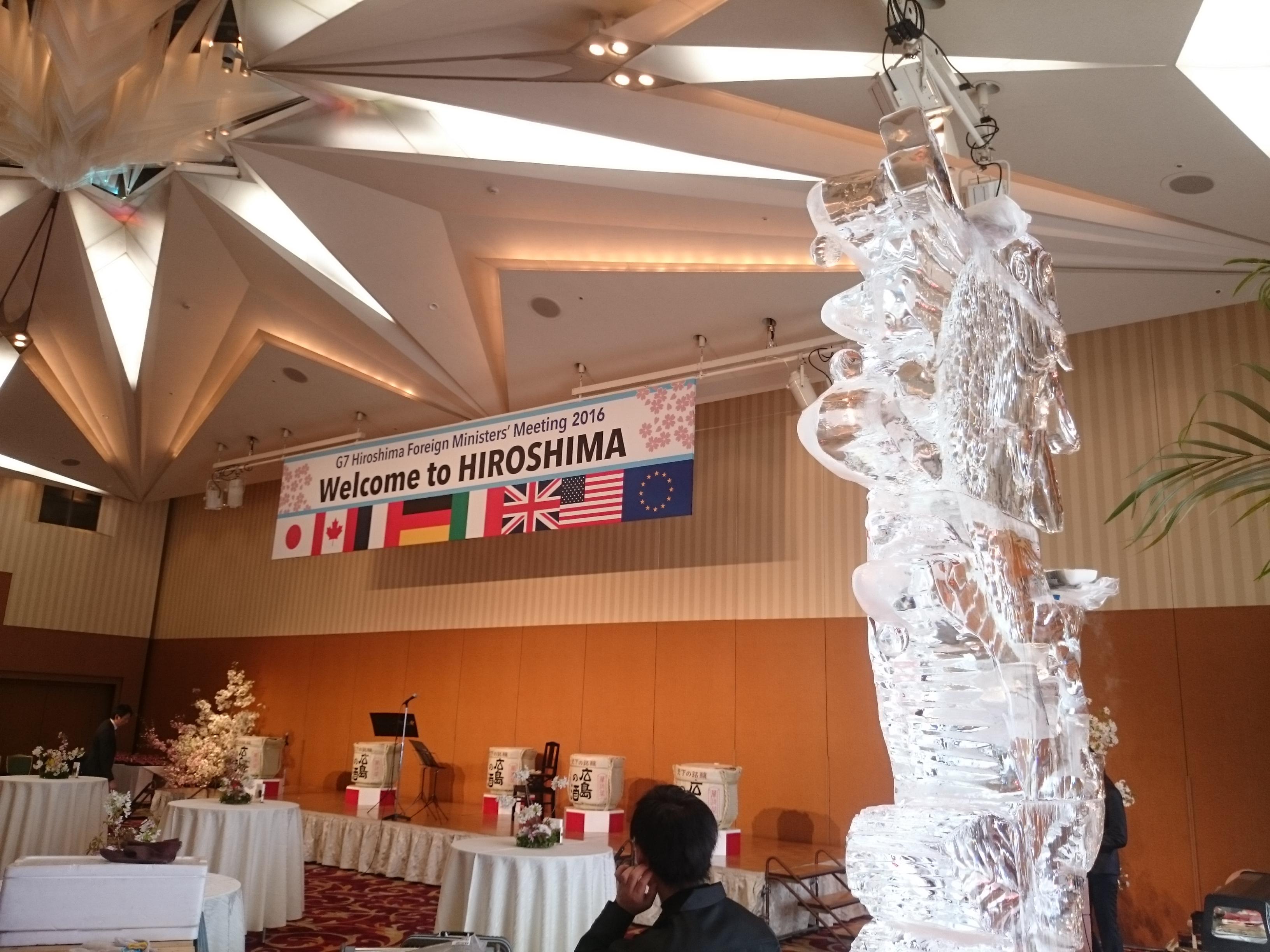 広島G7外相会合ホテル会場にて彫刻