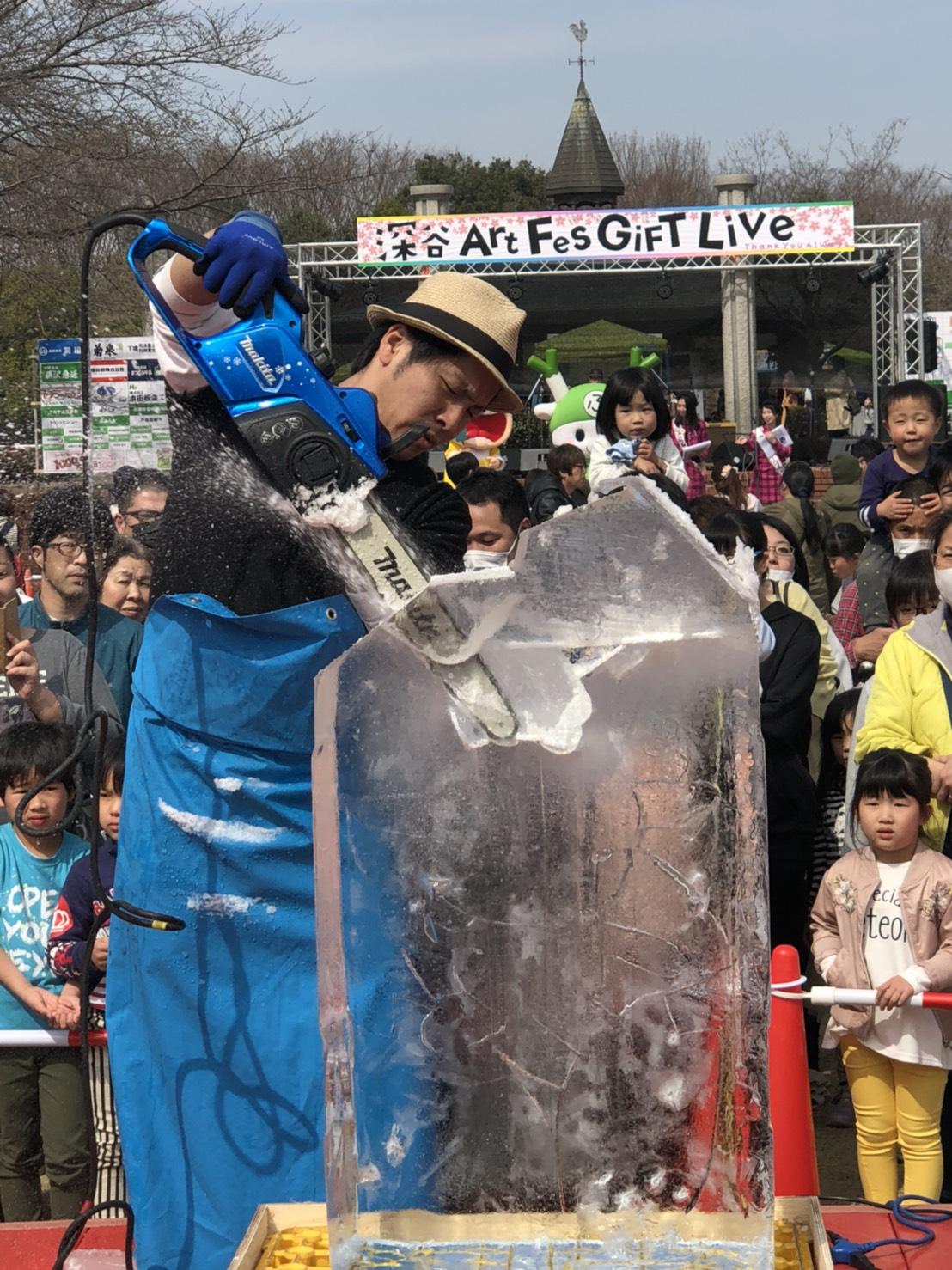 埼玉県深谷市で氷彫刻実演ショー