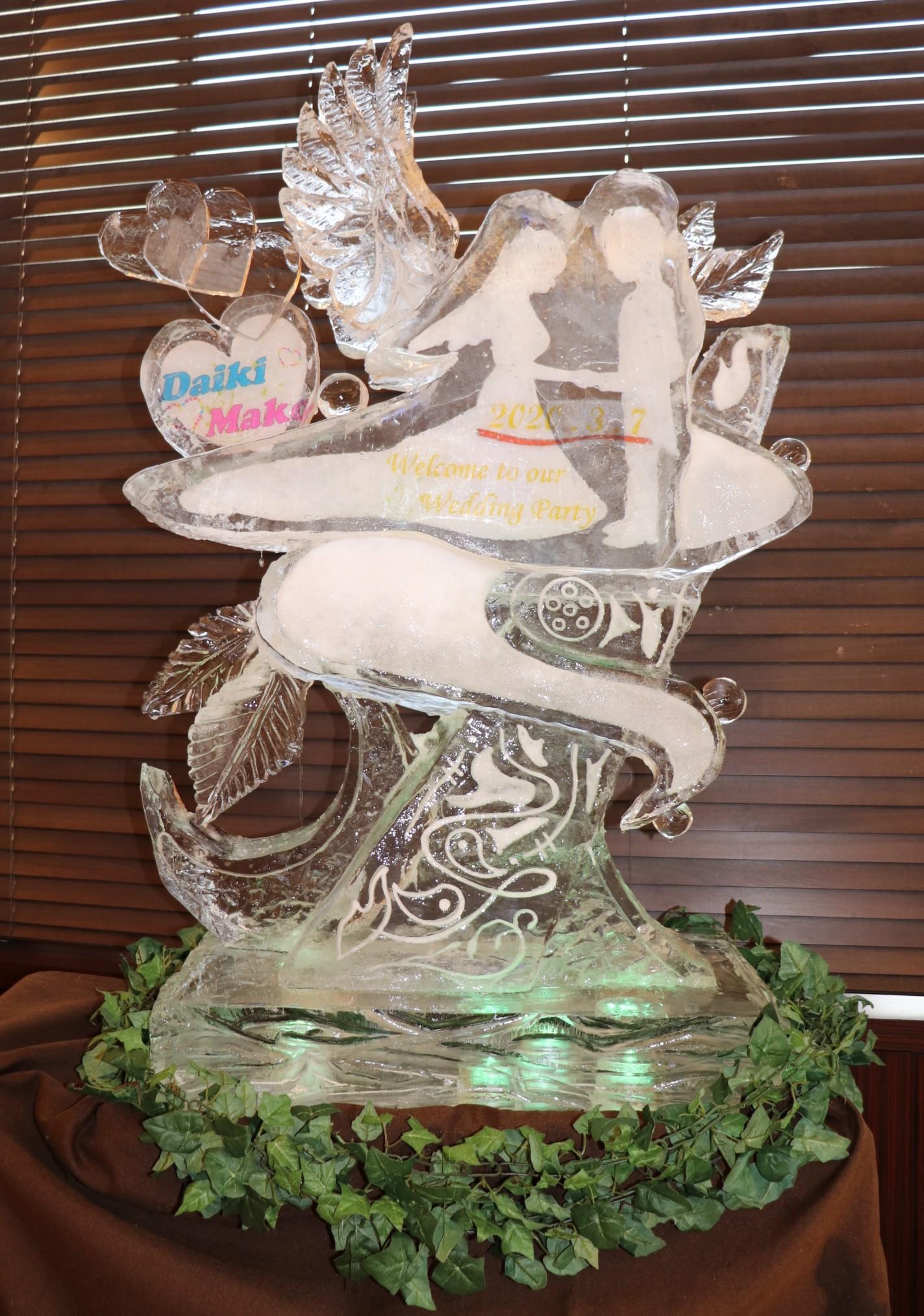婚礼ウエルカムボード氷彫刻2020.3.7